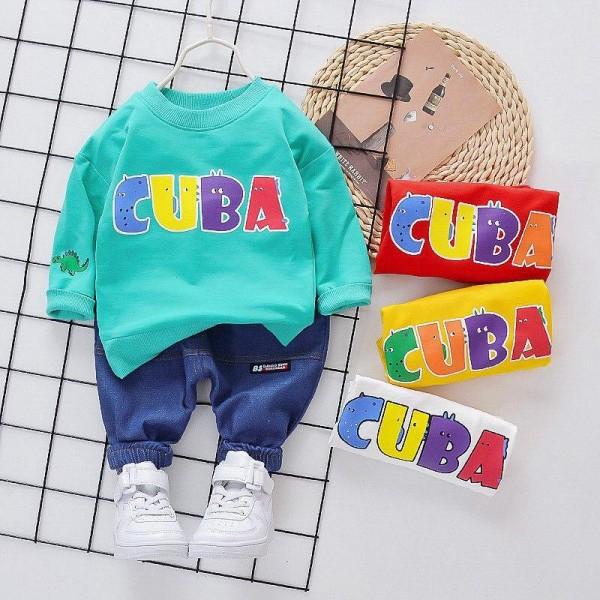 Σετ παντελόνι τζιν - μπλούζα με σχέδιο CUBA, τιρκουάζ