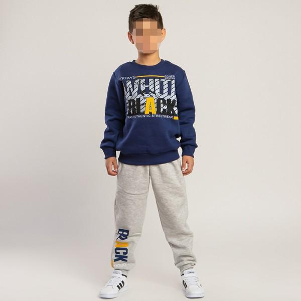 Σετ φούτερ παντελόνι - μπλούζα με τύπωμα, μπλε - γκρι