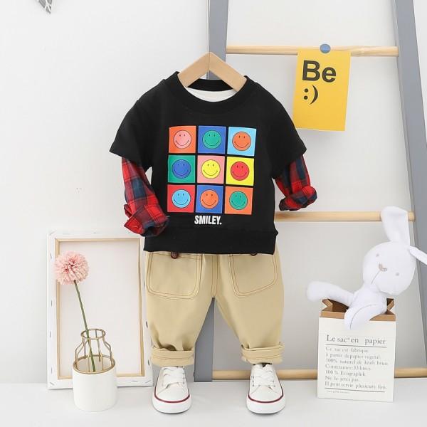 Σετ παντελόνι - μπλούζα μακρυμάνικη με σχέδιο Smileys και λεπτομέρεια στα μανίκια, μαύρο - εκρού