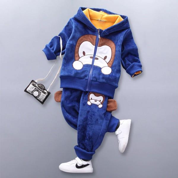 Σετ βελούδο-φούτερ παντελόνι - ζακέτα με κουκούλα, τσέπες και σχέδιο πιθηκάκι, μπλε