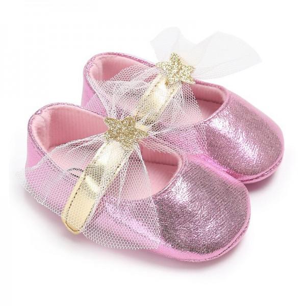 Βρεφικά παπουτσάκια αγκαλιάς με αστέρι και τούλι, ροζ