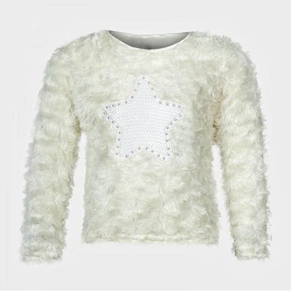 Μπλούζα μακρυμάνικη 'fluffy', με ραμμένη στάμπα αστέρι και πούλιες, λευκή
