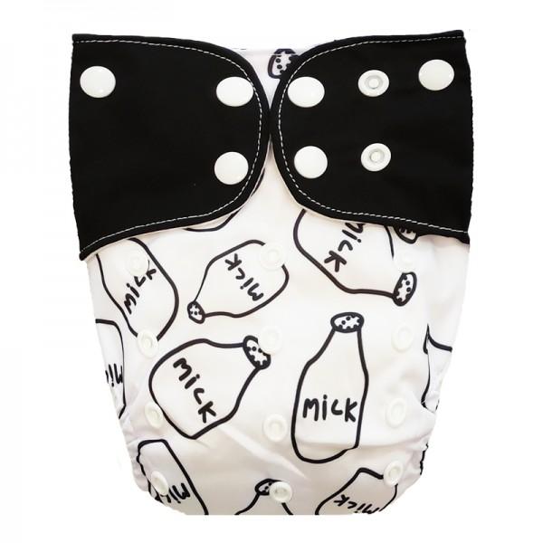 Πάνα Pocket One Size λευκή - μαύρη, με σχέδιο 'milk' και μαύρα φτερά