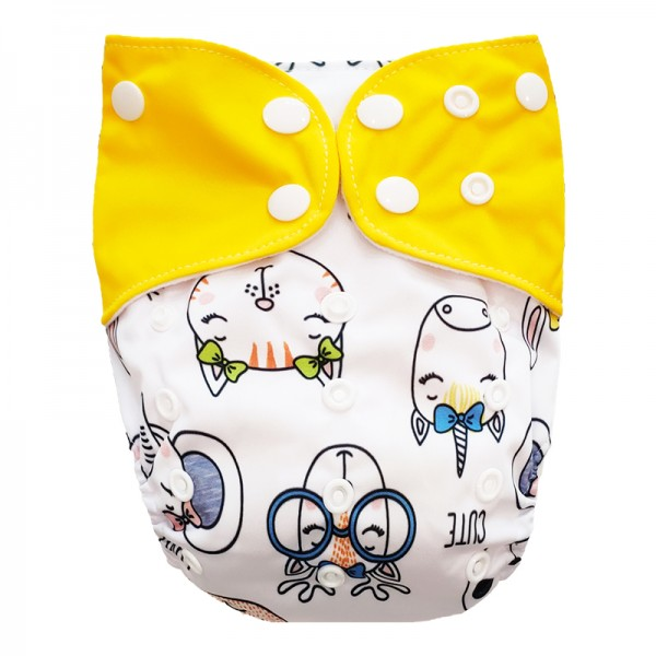 Πάνα Pocket One Size πολύχρωμη, με σχέδιο ζωάκια και κίτρινα φτερά