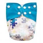 Πάνα Pocket One Size πολύχρωμη, με σχέδιο παζλ και γαλάζια φτερά