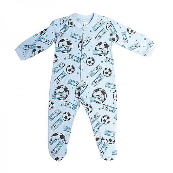 Φορμάκι βαμβακερό μακρυμάνικο με σχέδιο μπάλες ποδοσφαίρου, γαλάζιο