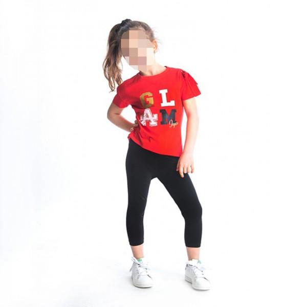 Σετ κολάν κάπρι - μπλούζα με τύπωμα, σε κόκκινο - μαύρο χρώμα