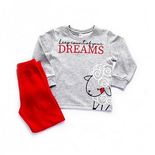 Πιτζάμες με σχέδιο προβατάκι, γκρι - κόκκινο