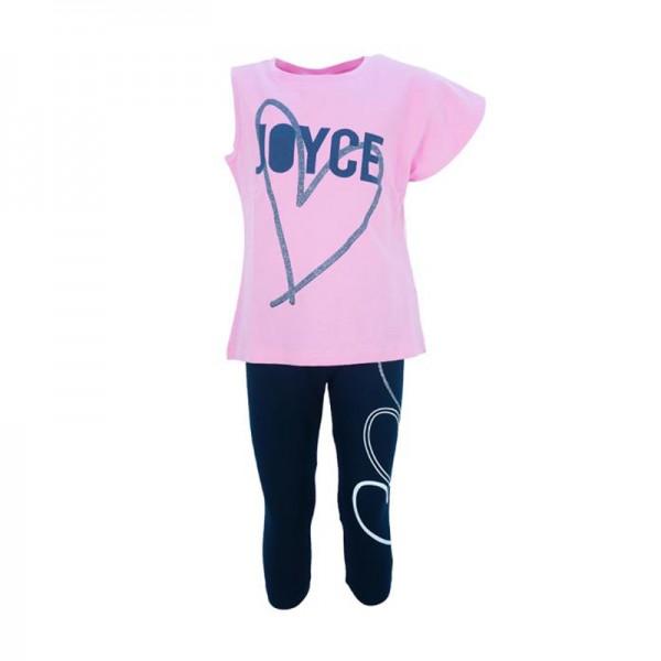 Σετ κολάν κάπρι - μπλούζα κοντομάνικη με τύπωμα, ροζ - μπλε navy
