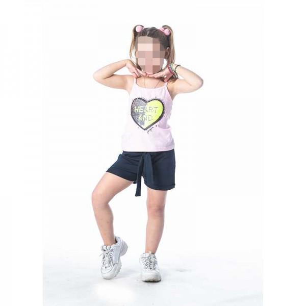 Σετ κοντό παντελονάκι - αμάνικη μπλούζα με παγιέτα καρδιά, ροζ - μπλε navy