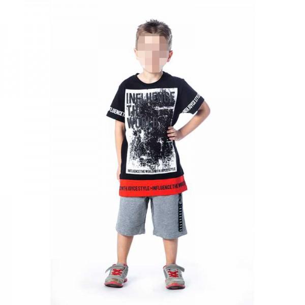 Σετ βερμούδα - μπλούζα κοντομάνικη με στάμπα, μαύρο/κόκκινο - γκρι